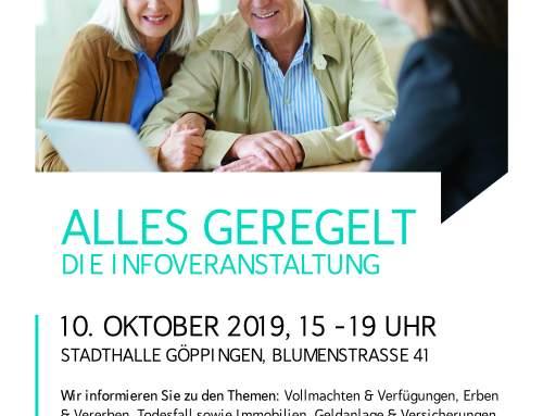 Vortrag über Bestattungsarten und Bestattungsvorsorge in der Stadthalle Göppingen am 10. Oktober 2019, ab 15 Uhr